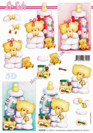 Baby Bottles New Baby 3d Decoupage Craft Sheet